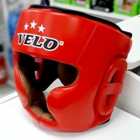 Шлем боксерский  закрытый, кожа, красный