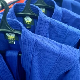 Куртка для самбо, синяя (130-190)