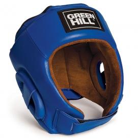 Кикбоксерский шлем BEST, кожа, синий