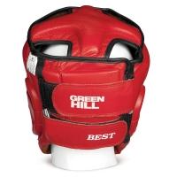 Кикбоксерский шлем BEST, кожа, красный